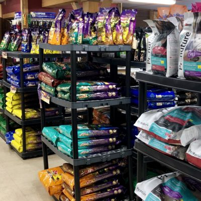 Bagged pet food at Willow Farm pet services in Vermont