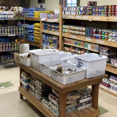 Bagged and canned dog and cat food at Willow Farm pet services in Vermont